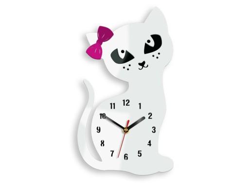 Duży zegar ścienny MC- KOT- BIAŁY - DLA DZIECKA