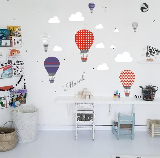 Naklejki balony niebo pastelowe imię chmurki marin