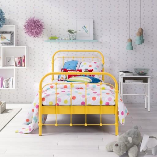łóżko Metalowe Kute Babunia 120x200 żółte