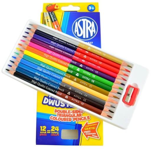 Kredki ołówkowe dwustronne Astra 24 kolory