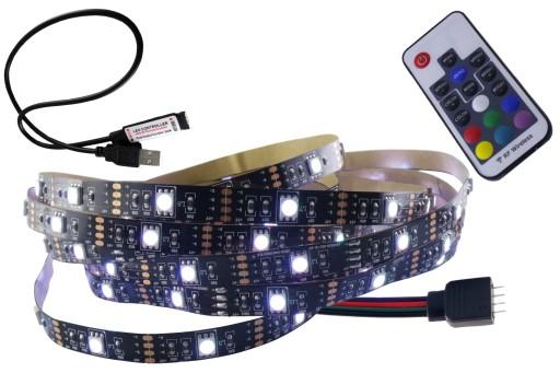 ZESTAW taśma LED RGB 5V USB podświetlenie TV 3m