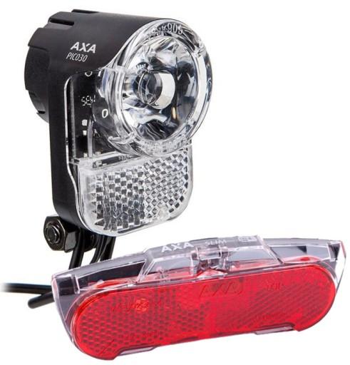Zestaw Lamp Rowerowych Przód Tył Prądnica Axa Pico