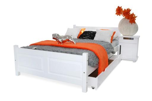 łóżko Lena Białe 140x200 Stelaż Sypialnia 100