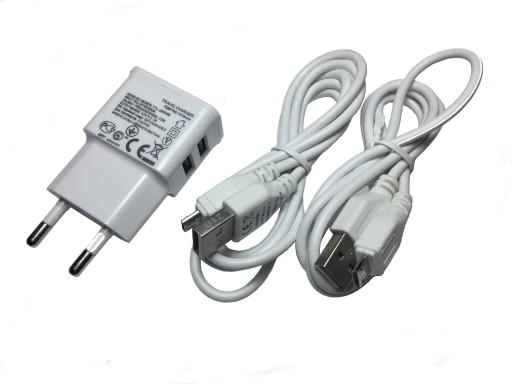 ŁADOWARKA ZASILACZ 5V 2A USB 2X + 2 KABLE 2M MICRO