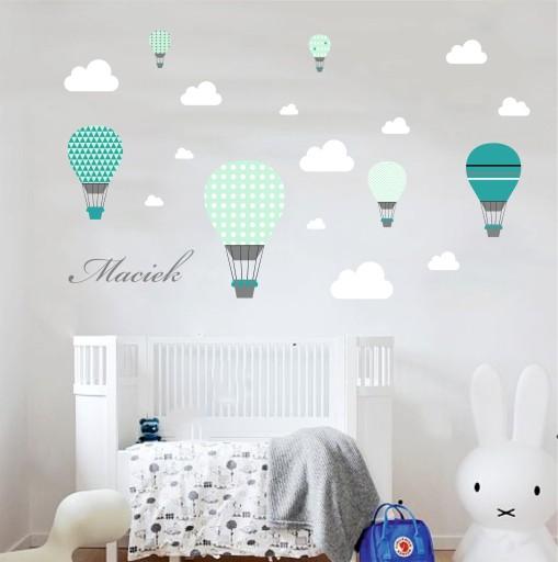 Naklejki balony niebo pastelowe imię chmurki mięta