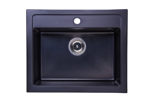 Zlewozmywak Granitowy Jednokomorowy Czarny Syfon 6577998934
