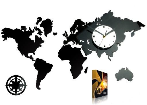 Zegar ścienny ModernClock - Mapa Świata - 70 cm