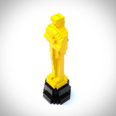 Rzeźba jakOskar zbudowana z klocków LEGO dekoracja