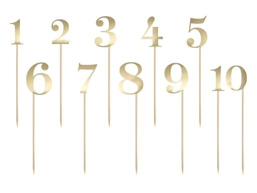 Numery Na Stoly Weselne Cyfry Do Oznaczenia Zlote 7527430198 Allegro Pl