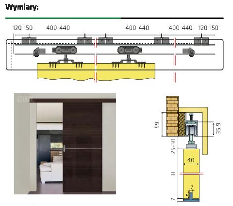 Drzwi przesuwne 4 cm+ mechanizm przesuwny SZYBKO