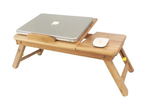 Komfortowy Drewniany Stolik Pod Laptop Bambusowy