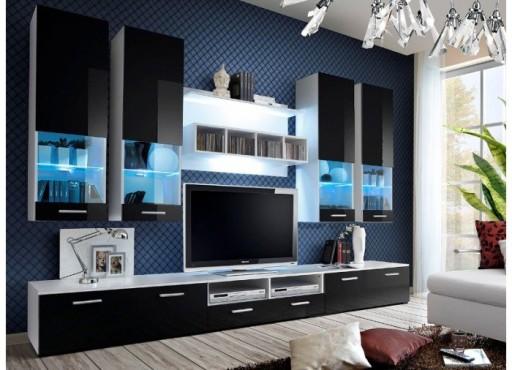 Meblościanka salon pokój połysk kolor czarny LED