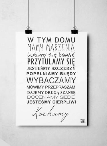 Plakat Typograficzny 40x50 W Domu Rodzina Z Ramą