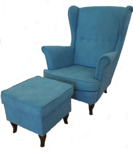 Fotel Uszak Z Podnóżkiem Skandynawski Styl Design