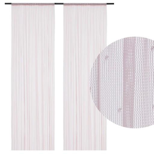 Ikea Hildrun Firanki 145x300 Różowe W Kropki 2szt