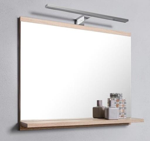 Lustro Z Półką Lampa Kinkiet Led Do łazienki Dąb
