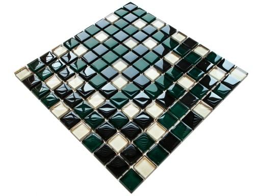 Mozaika Szklana Złota Mięta Czarna Zielona Listwa