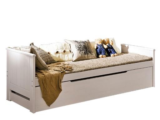 Drewniane łóżko 90 Podwójne Tomi Młodzieżowe Biały