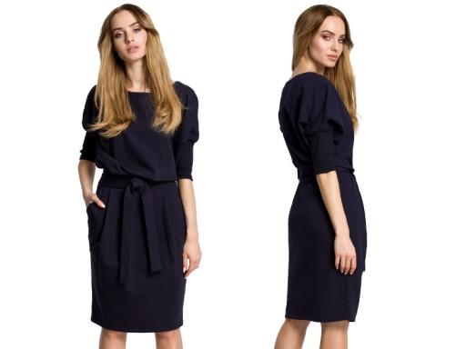 Dzianinowa Sukienka Odcinana W Pasie 44 Xxl 7236292135 Allegro Pl