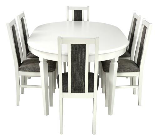 Ada Biały Okrągły Stół 6 Krzeseł Rozkładany 6920358202