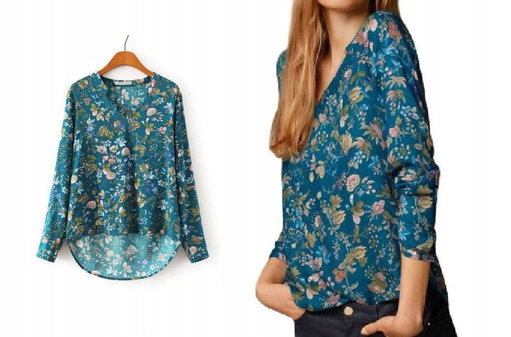 Women's blouse shirt slim fit flowers insects L 40 9664446571 Odzież Damska Topy CD CKBICD-1