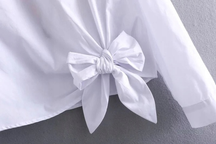 WHITE BLOUSE SHIRT WITH A COCKARDA EMBROIDERY L 40 9664446898 Odzież Damska Topy HK YDSHHK-7