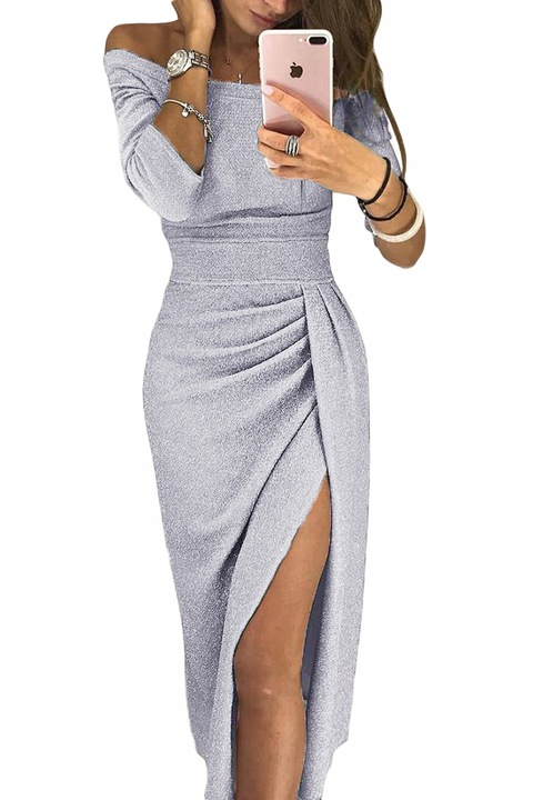 BŁYSZCZĄCA SUKIENKA ROZCIĘCIE SREBRNA L XL 40 42 7779723466 Odzież Damska Sukienki wieczorowe HC YKMZHC-1