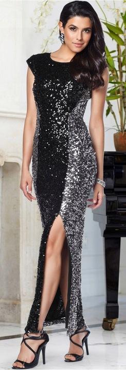 QS479 Elegancka cekinowa długa sukienka 34/36 NOWA 7826793208 Odzież Damska Sukienki wieczorowe NW XJPGNW-1